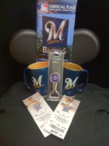 Brewer  Tickets vs cubs 9-27  –infield box with brewer flag and brewer mugs